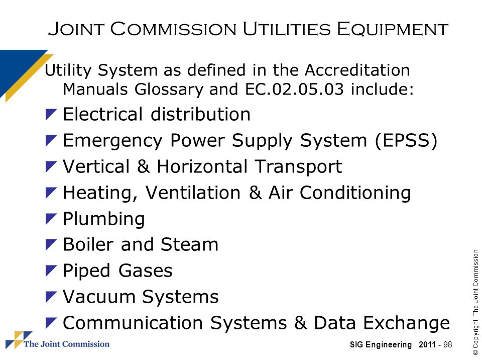 Joint Commission Utilities Equipment