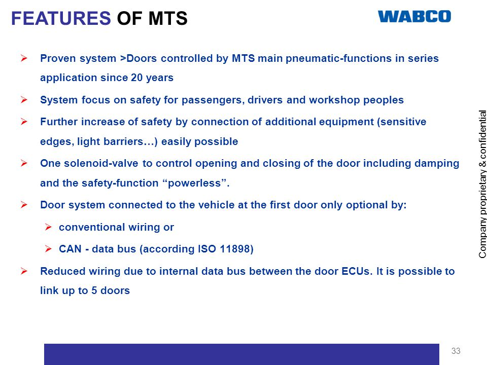FEATURES OF MTS Proven system >Doors controlled by MTS main pneumatic-functions in series application since 20 years.
