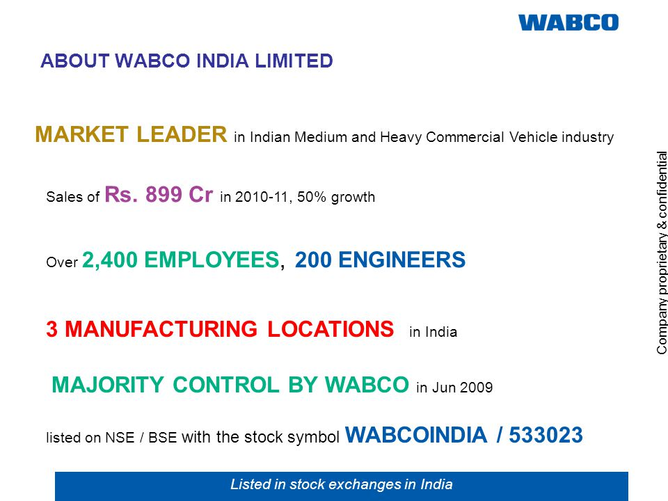 ABOUT WABCO INDIA LIMITED