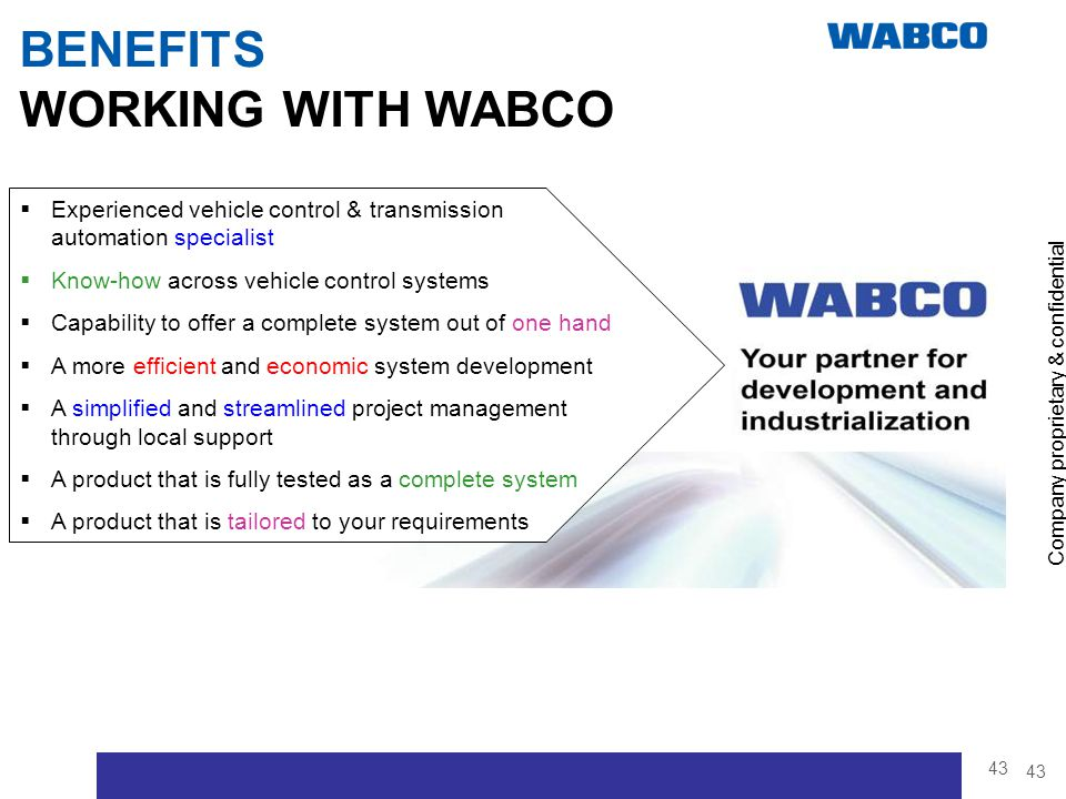 BENEFITS WORKING WITH WABCO
