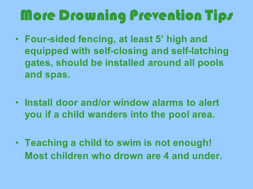 More Drowning Prevention Tips