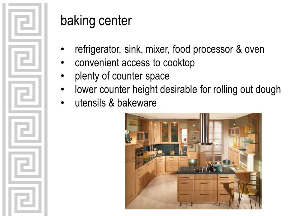 baking center refrigerator, sink, mixer, food processor & oven