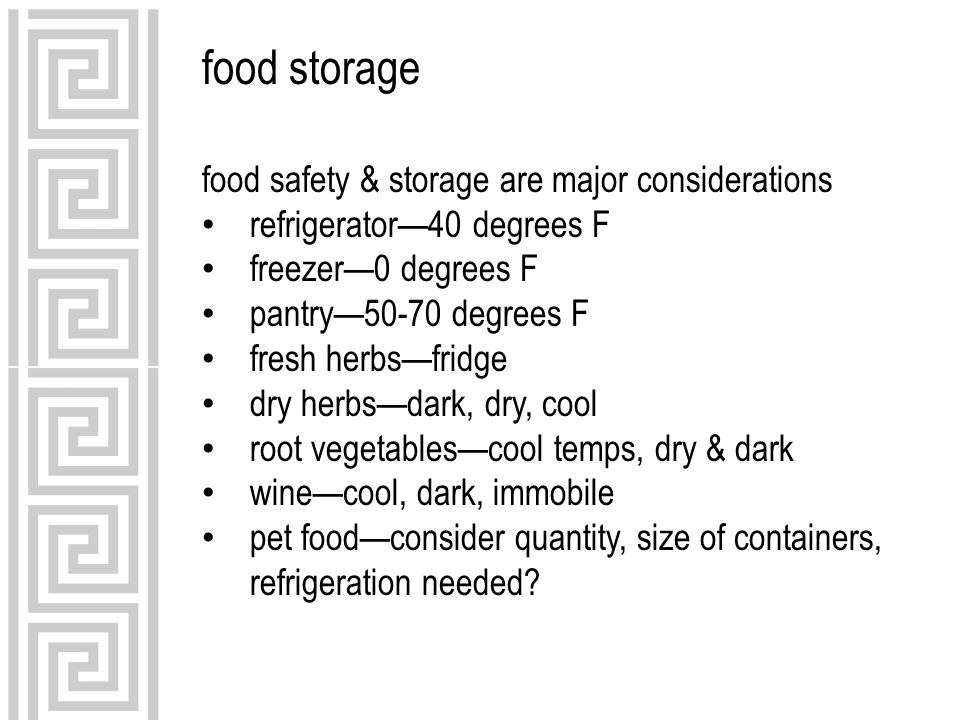 food storage food safety & storage are major considerations