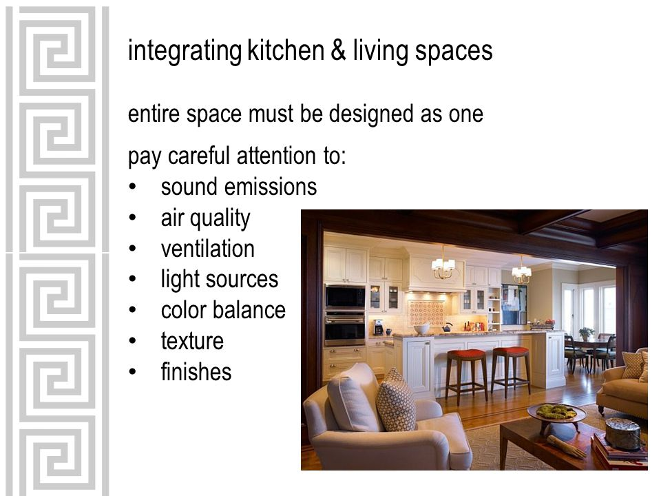 integrating kitchen & living spaces