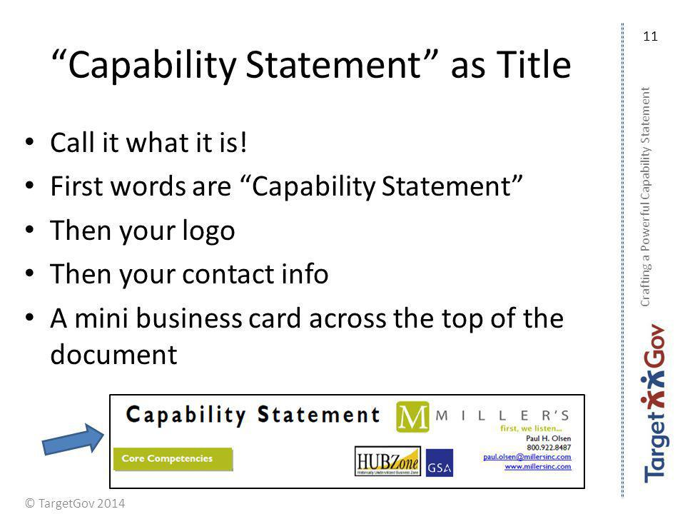 Capability Statement as Title