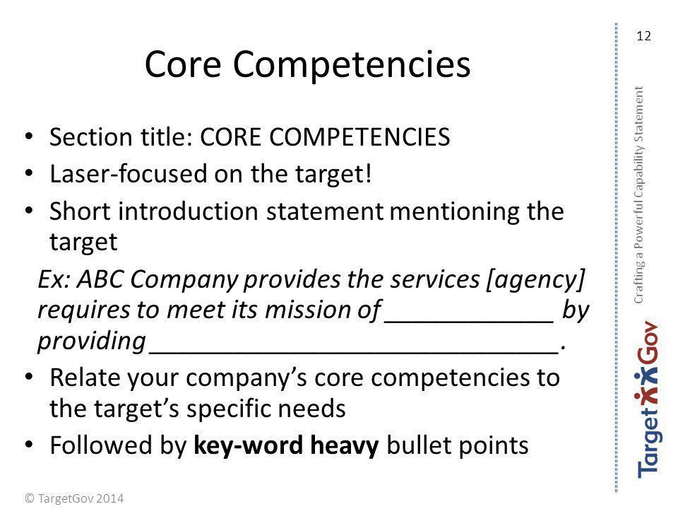 Core Competencies Section title: CORE COMPETENCIES