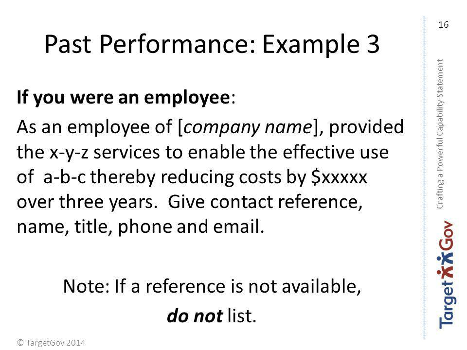 Past Performance: Example 3