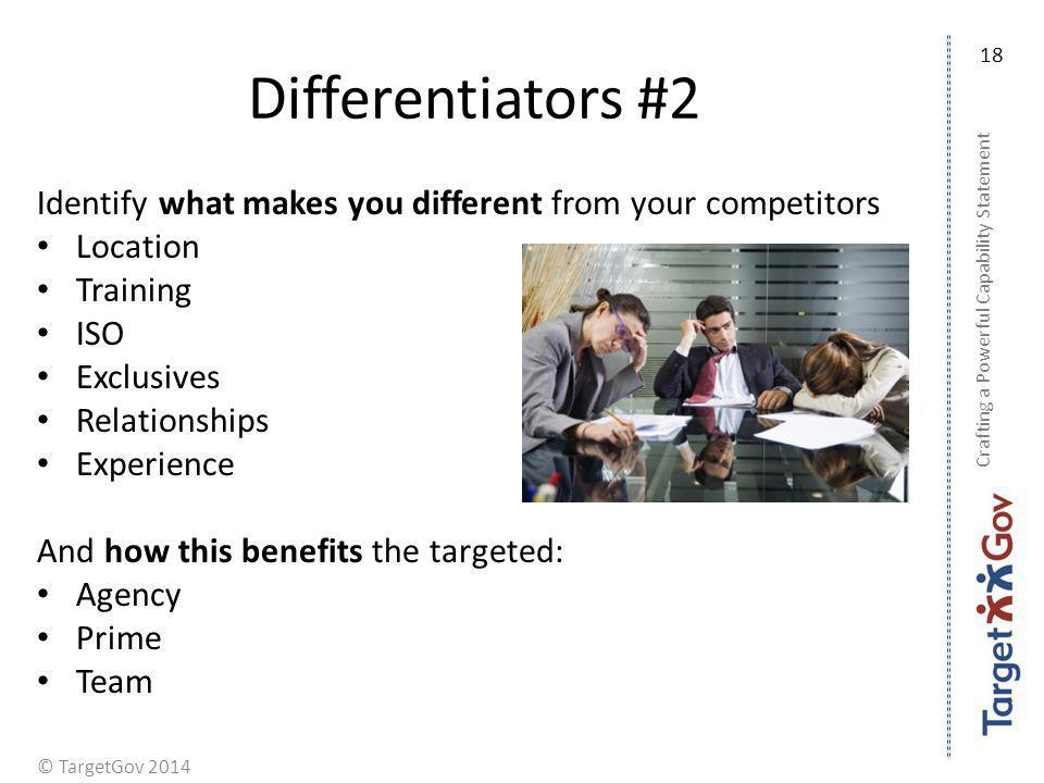 Differentiators #2 18. Identify what makes you different from your competitors. Location. Training.
