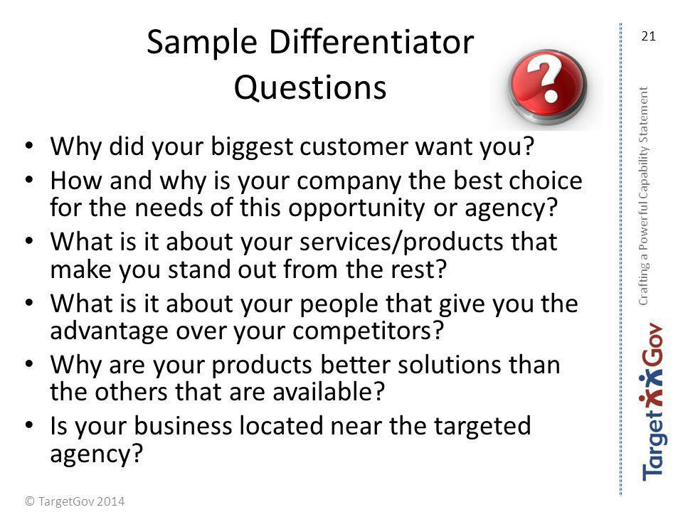 Sample Differentiator Questions