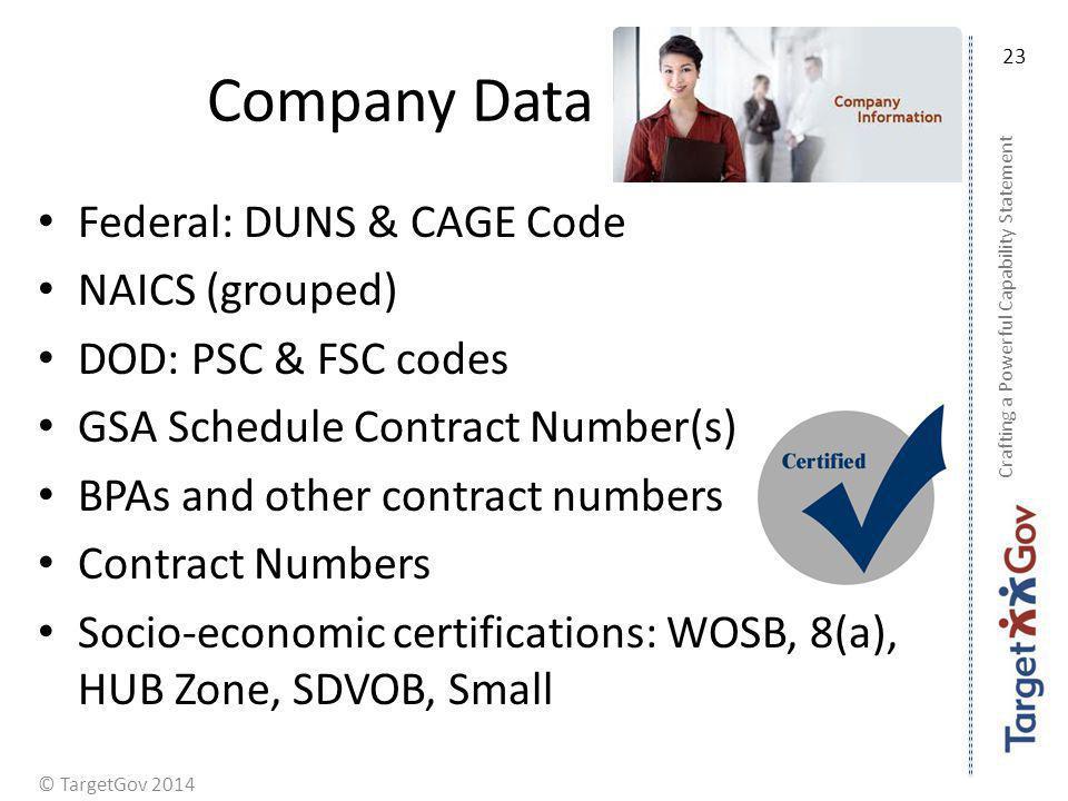 Company Data Federal: DUNS & CAGE Code NAICS (grouped)