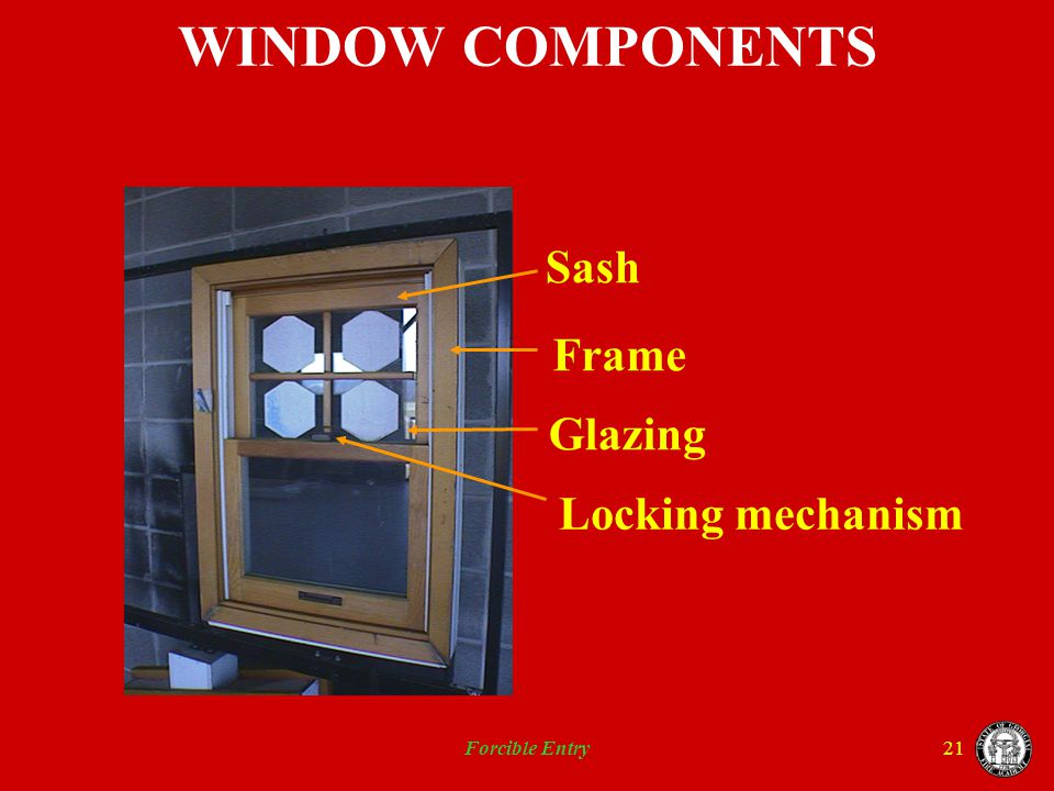 WINDOW COMPONENTS Sash Frame Glazing Locking mechanism Forcible Entry