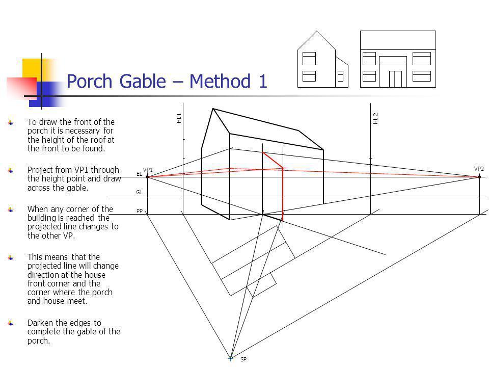Porch Gable – Method 1 VP1. VP2. EL. GL. PP. SP. HL 2. HL1.