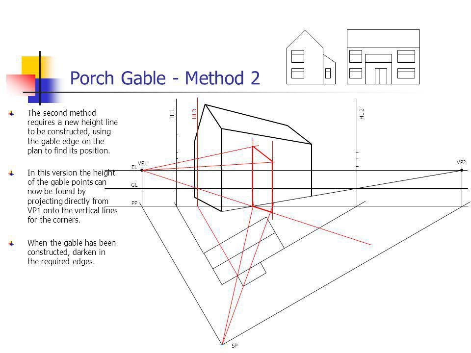 Porch Gable - Method 2 The second method requires a new height line to be constructed, using the gable edge on the plan to find its position.