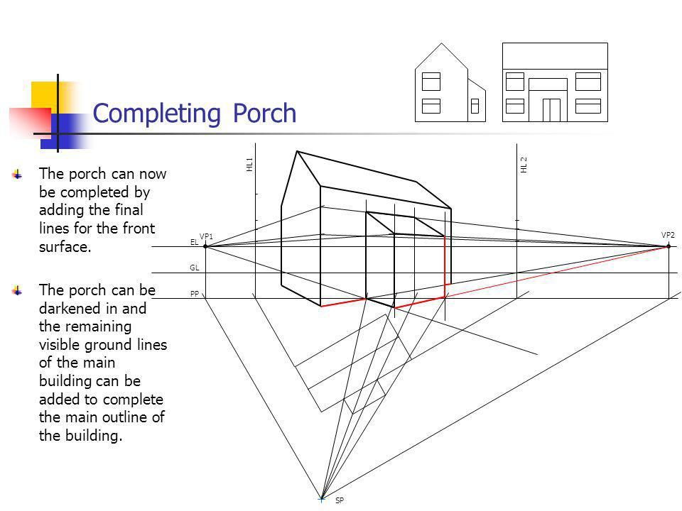 Completing Porch VP1. VP2. EL. GL. PP. SP. HL 2. HL1. The porch can now be completed by adding the final lines for the front surface.