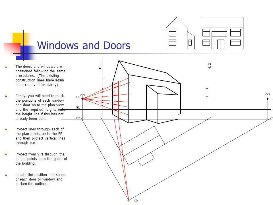 Windows and Doors VP1. VP2. EL. GL. PP. SP. HL 2. HL1.