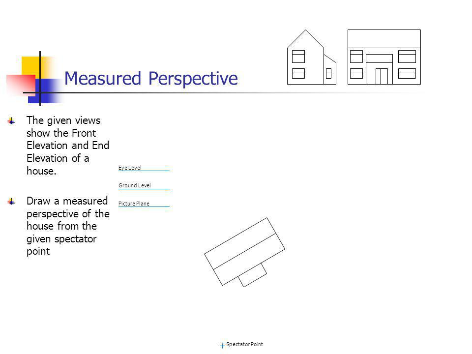 Measured Perspective The given views show the Front Elevation and End Elevation of a house.