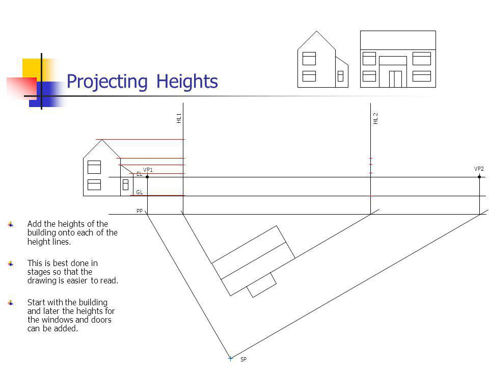 Projecting Heights VP1. VP2. EL. GL. PP. SP. HL 2. HL1. Add the heights of the building onto each of the height lines.