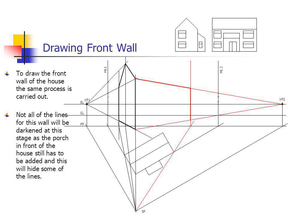 Drawing Front Wall VP1. VP2. EL. GL. PP. SP. HL 2. HL1. To draw the front wall of the house the same process is carried out.