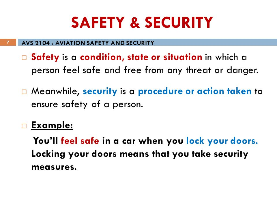 SAFETY & SECURITY AVS 2104 : AVIATION SAFETY AND SECURITY.