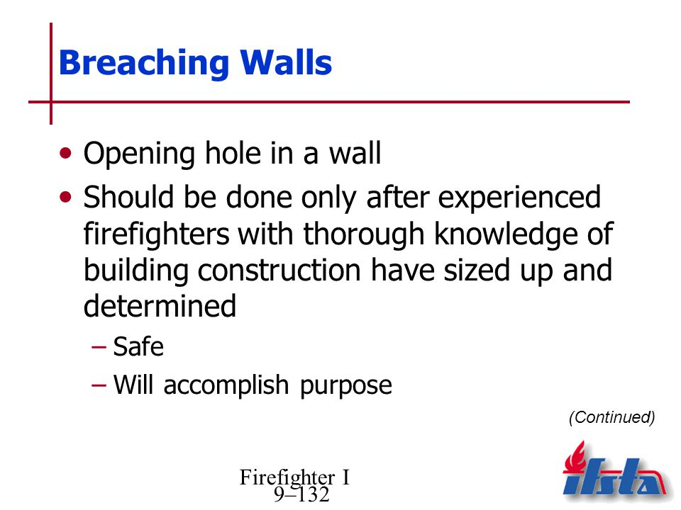 Breaching Walls Opening hole in a wall
