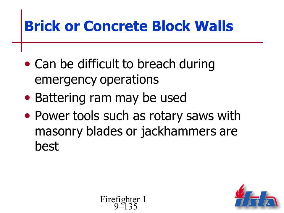 Brick or Concrete Block Walls