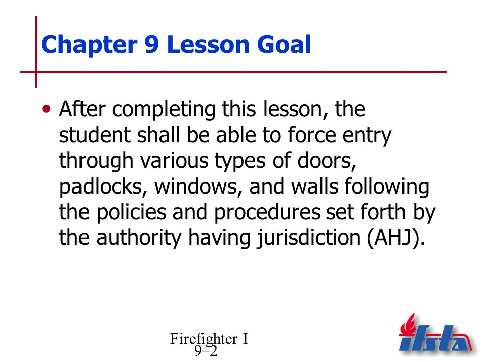 Chapter 9 Lesson Goal