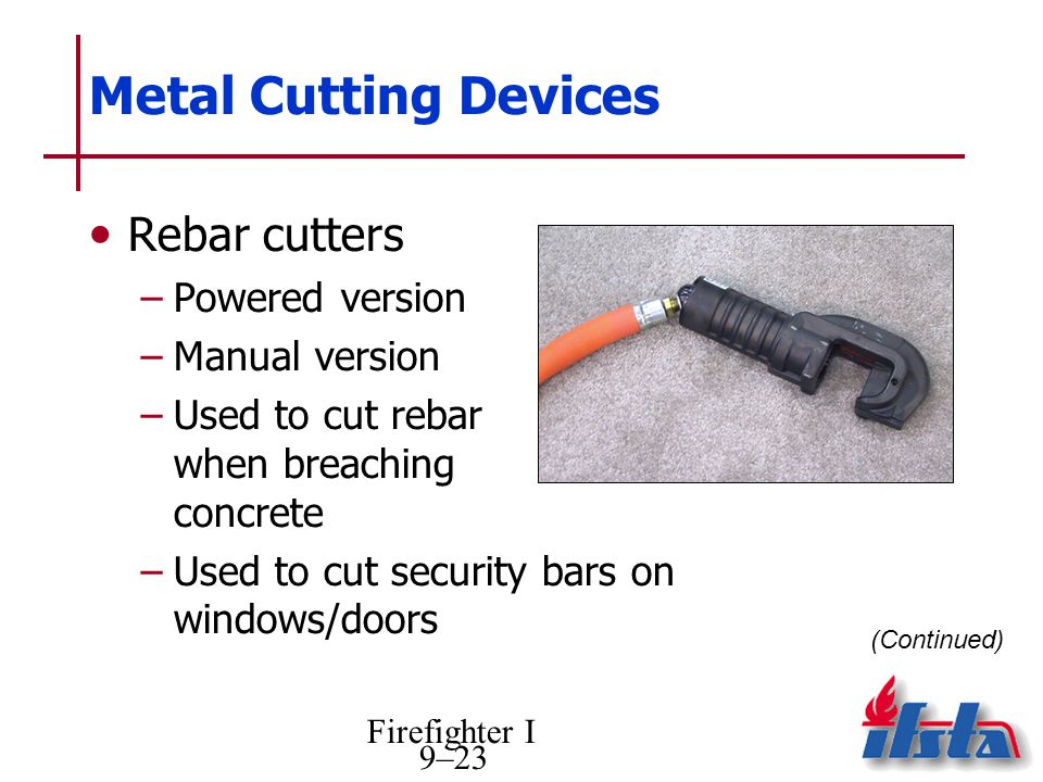 Metal Cutting Devices Rebar cutters Powered version Manual version
