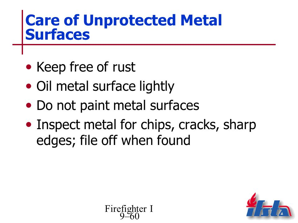 Care of Unprotected Metal Surfaces