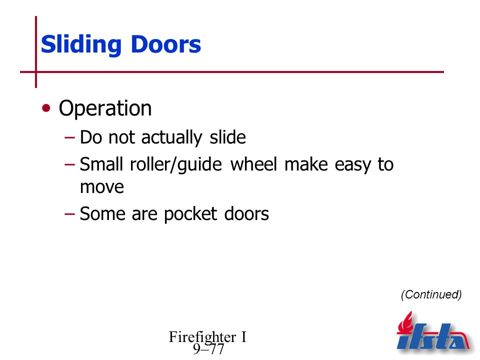 Sliding Doors Operation Do not actually slide