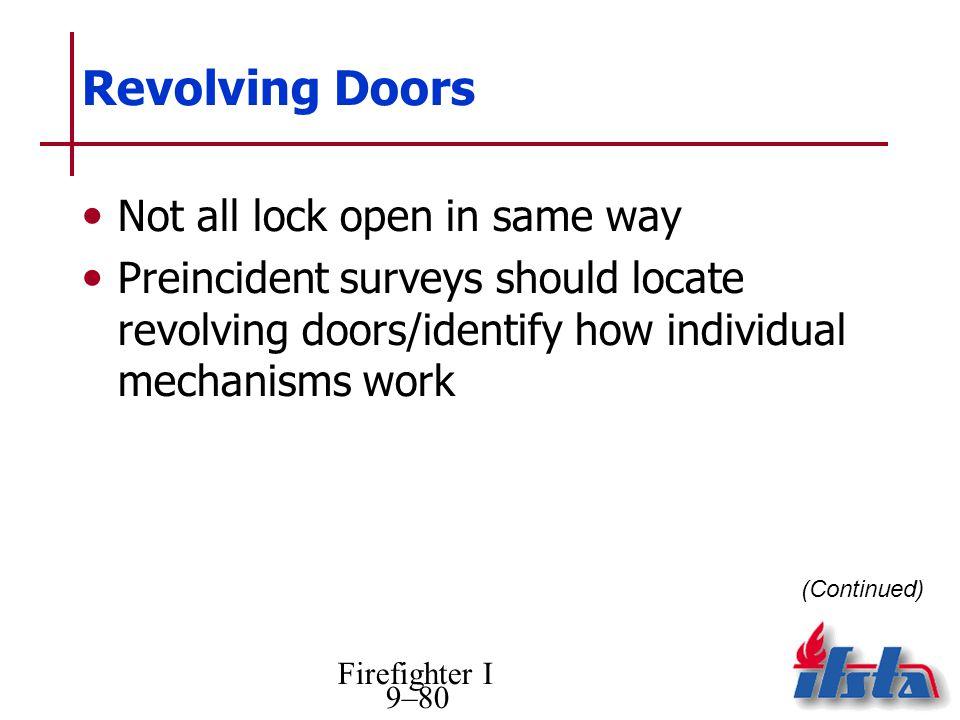 Revolving Doors Not all lock open in same way