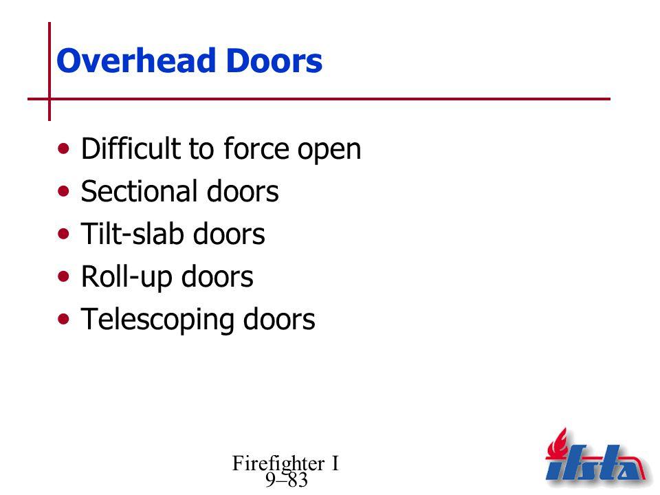 Overhead Doors Difficult to force open Sectional doors Tilt-slab doors