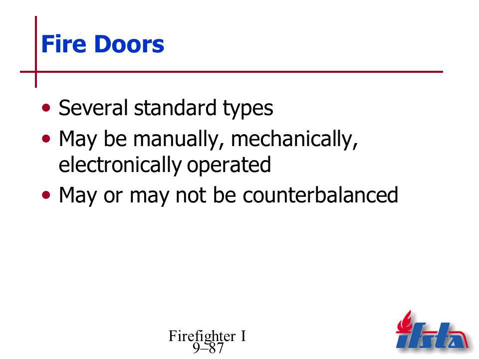 Fire Doors Several standard types