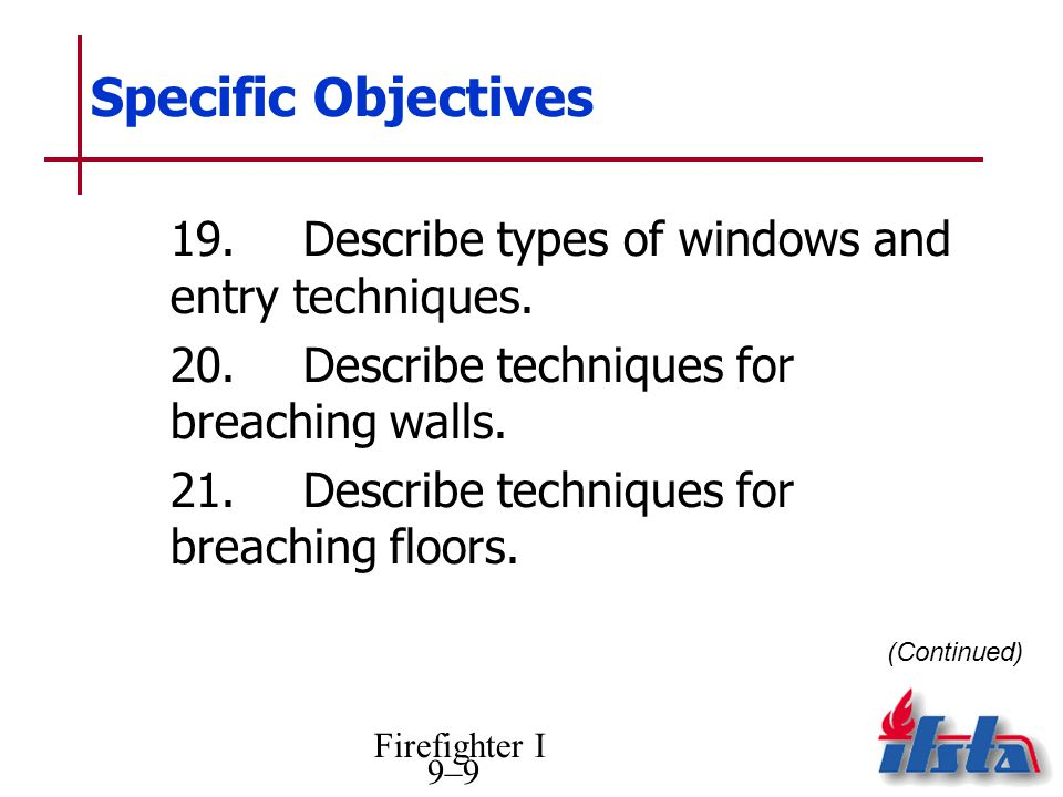 Specific Objectives 19. Describe types of windows and entry techniques. 20. Describe techniques for breaching walls.