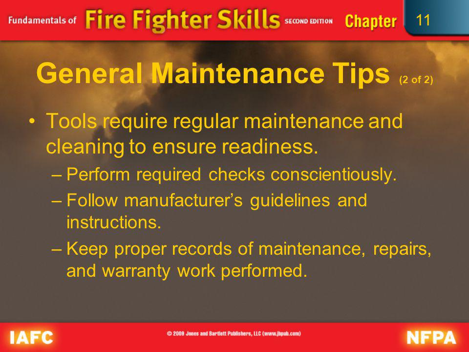 General Maintenance Tips (2 of 2)