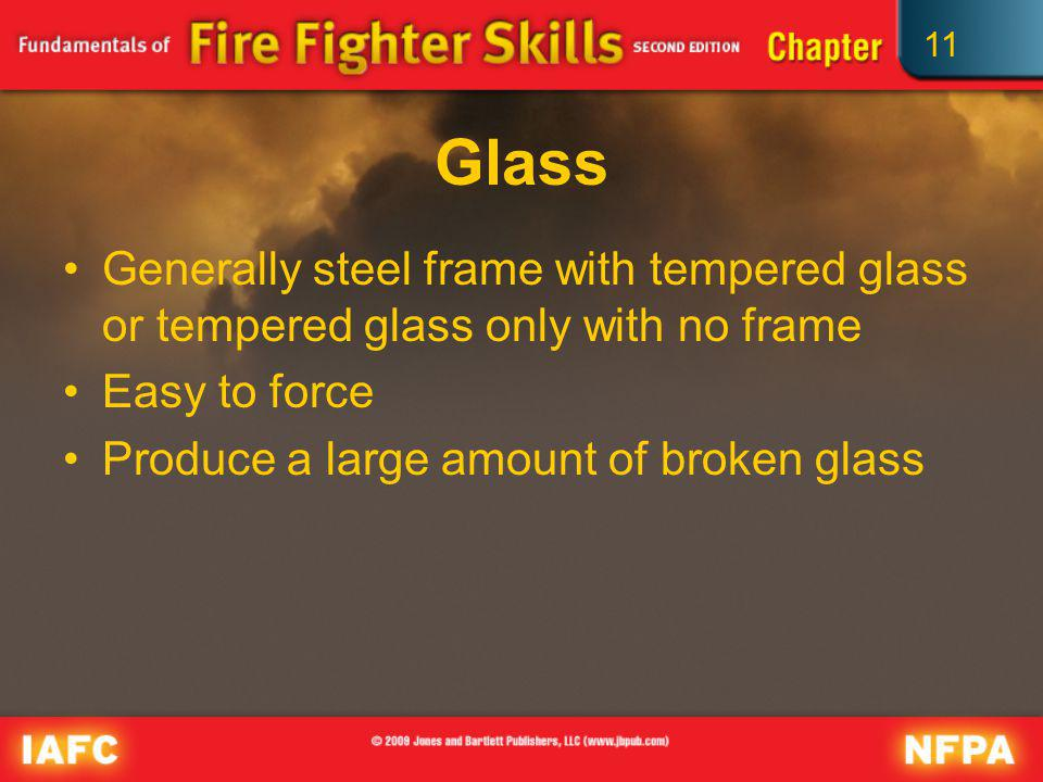 Glass Generally steel frame with tempered glass or tempered glass only with no frame. Easy to force.