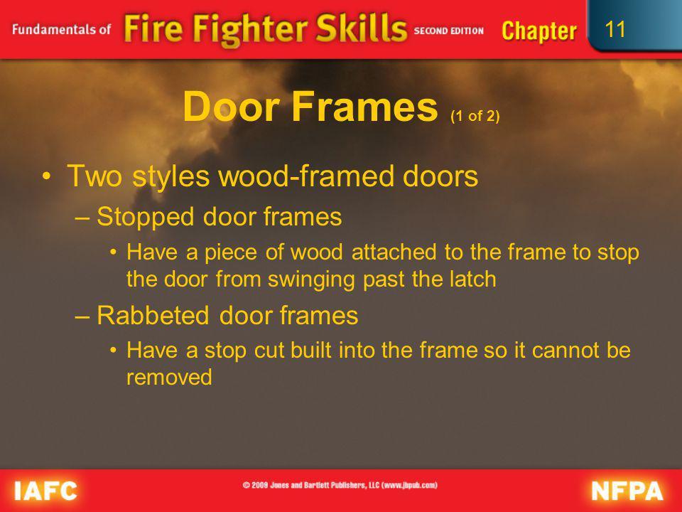 Door Frames (1 of 2) Two styles wood-framed doors Stopped door frames