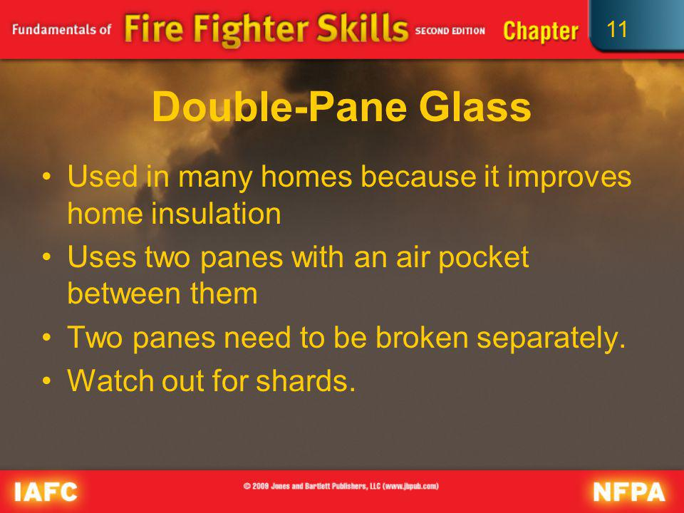 Double-Pane Glass Used in many homes because it improves home insulation. Uses two panes with an air pocket between them.