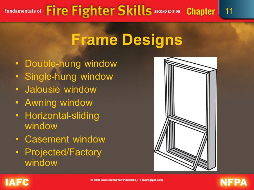 Frame Designs Double-hung window Single-hung window Jalousie window