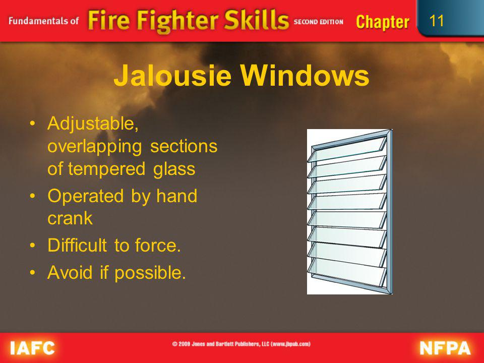 Jalousie Windows Adjustable, overlapping sections of tempered glass