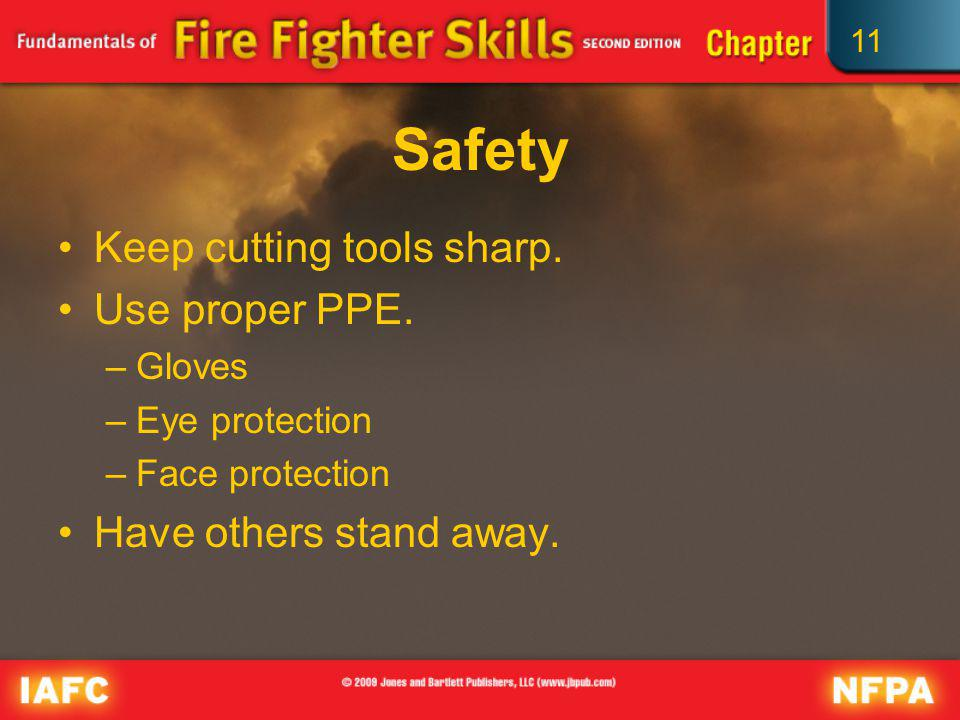 Safety Keep cutting tools sharp. Use proper PPE.