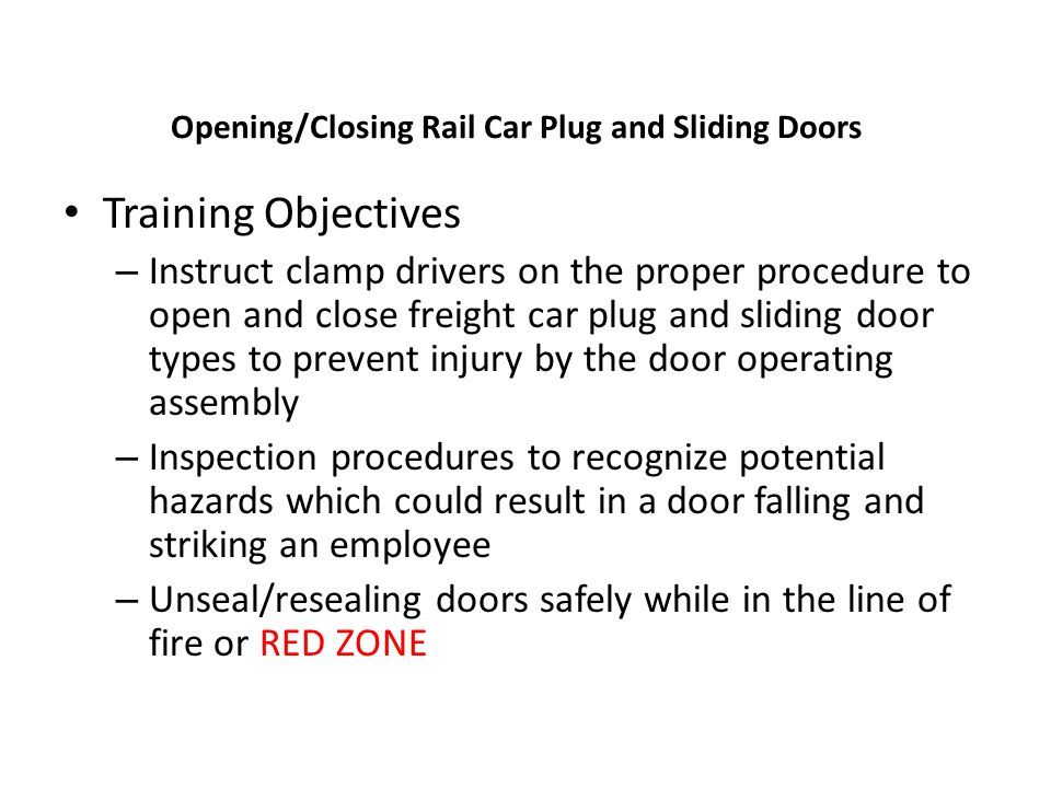 Opening/Closing Rail Car Plug and Sliding Doors
