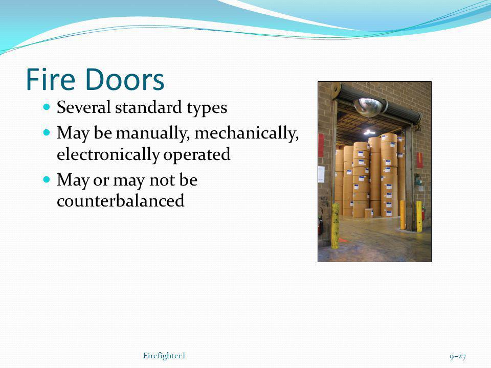 Fire Doors Several standard types