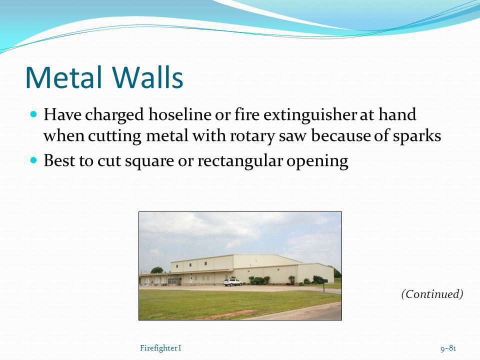 Metal Walls Have charged hoseline or fire extinguisher at hand when cutting metal with rotary saw because of sparks.