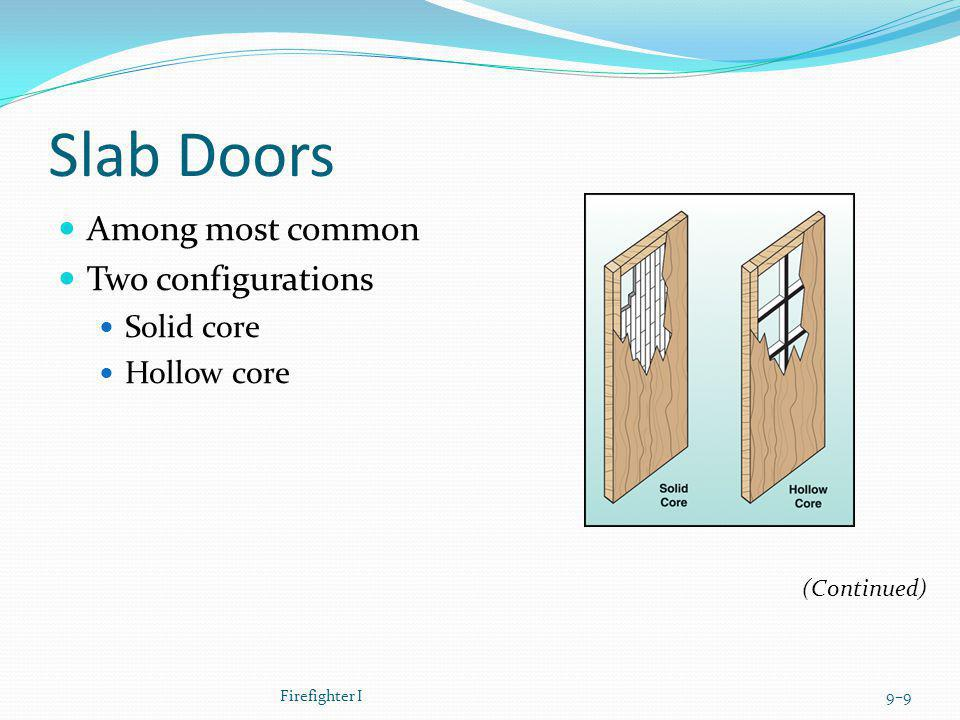 Slab Doors Among most common Two configurations Solid core Hollow core