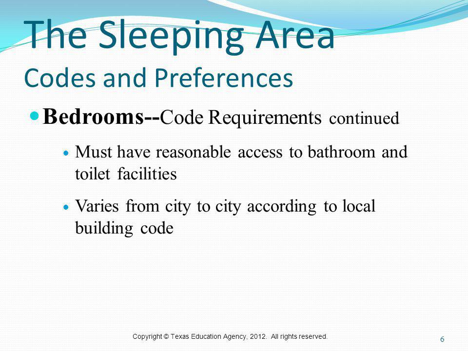 The Sleeping Area Codes and Preferences