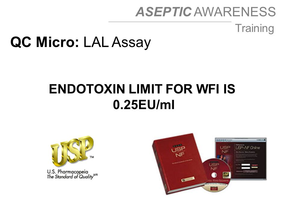 ENDOTOXIN LIMIT FOR WFI IS