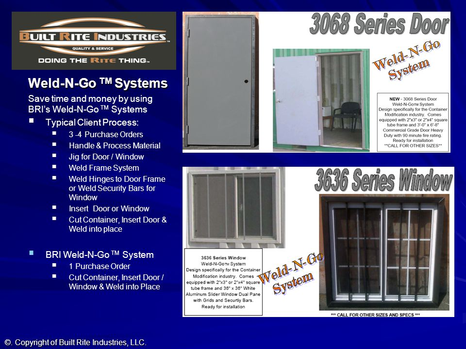 Weld-N-Go TM Systems Save time and money by using BRI's Weld-N-Go TM Systems. Typical Client Process: