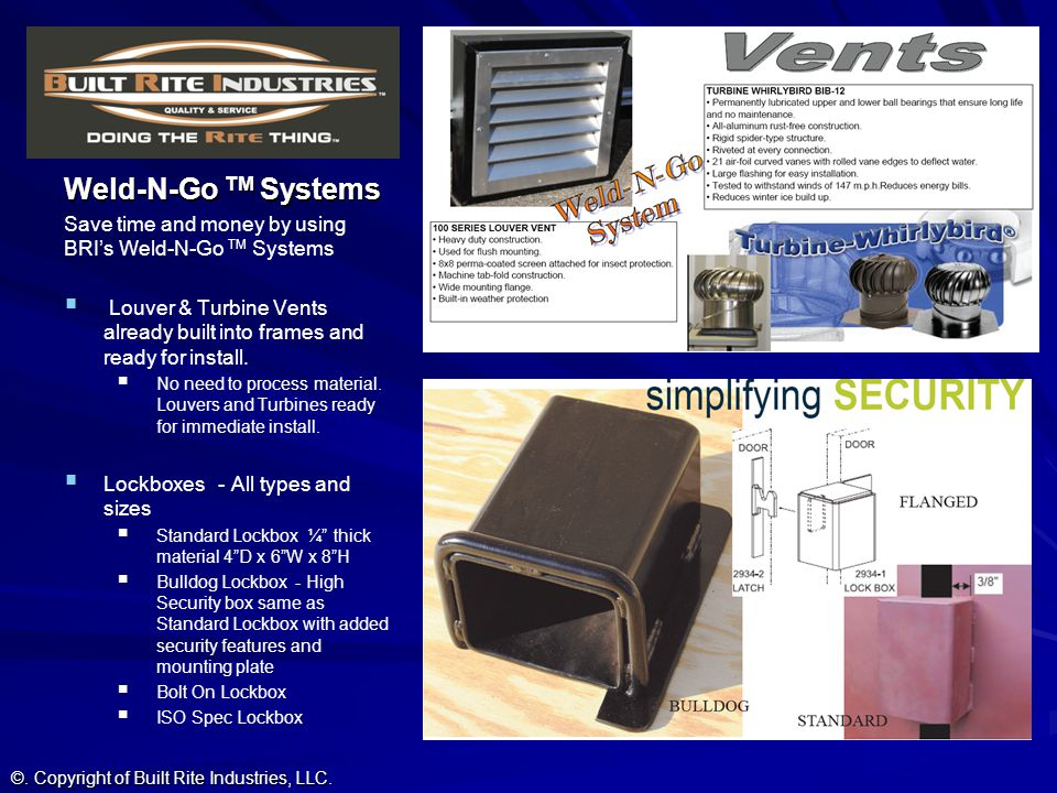 Weld-N-Go TM Systems Save time and money by using BRI's Weld-N-Go TM Systems.