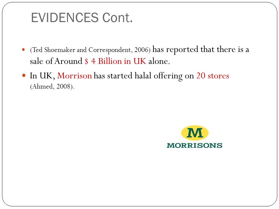EVIDENCES Cont. (Ted Shoemaker and Correspondent, 2006) has reported that there is a sale of Around $ 4 Billion in UK alone.
