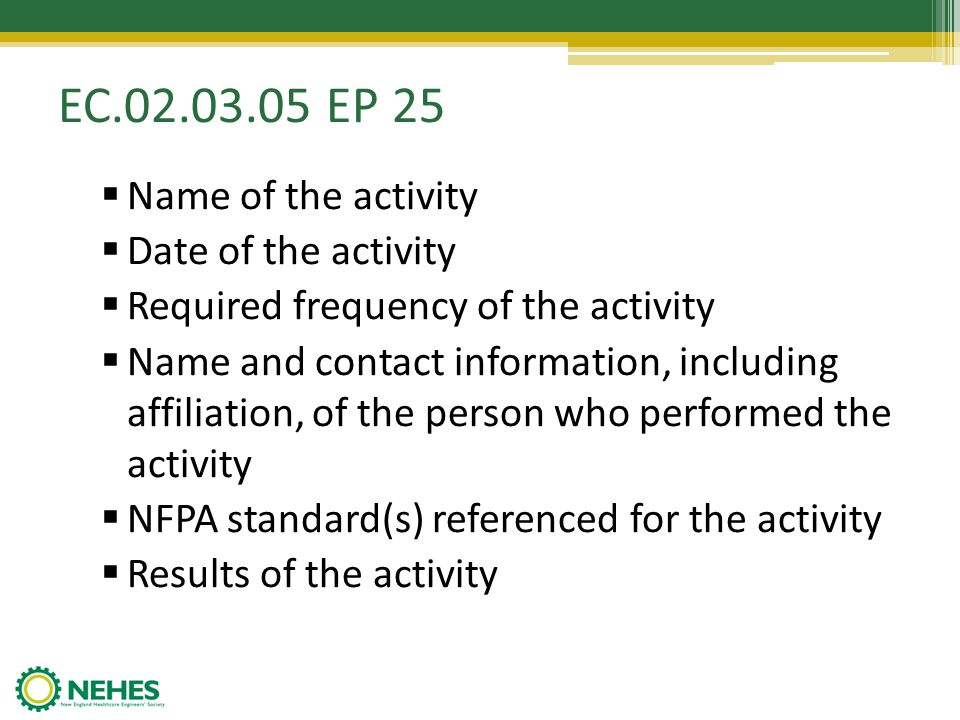 EC.02.03.05 EP 25 Name of the activity Date of the activity